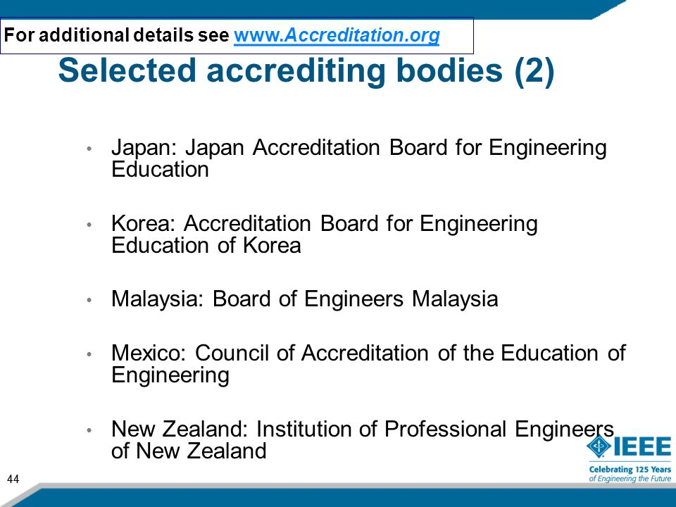 Selected accrediting bodies (2)