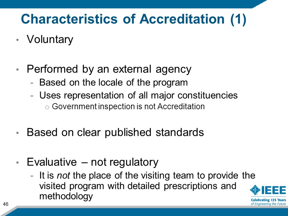 Characteristics of Accreditation (1)