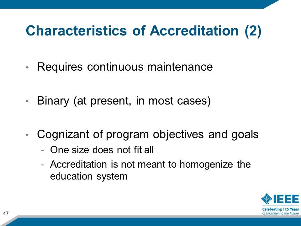 Characteristics of Accreditation (2)
