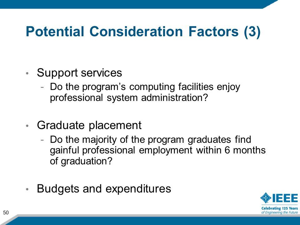 Potential Consideration Factors (3)