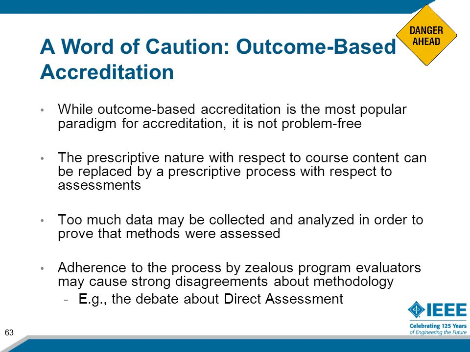 A Word of Caution: Outcome-Based Accreditation