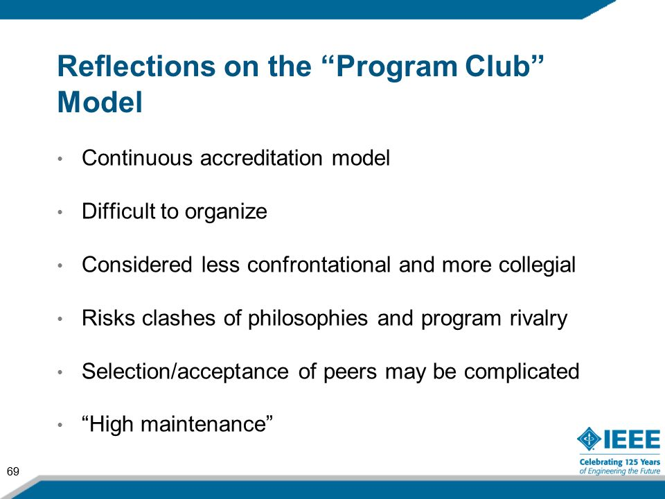 Reflections on the Program Club Model