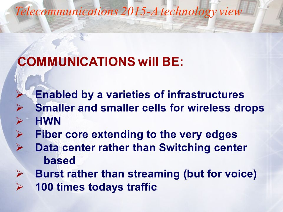 Telecommunications 2015-A technology view