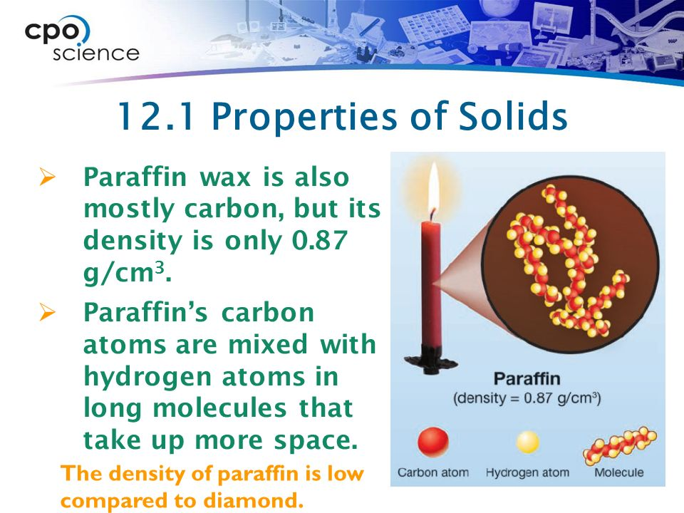 12.1 Properties of Solids Paraffin wax is also mostly carbon, but its density is only 0.87 g/cm3.