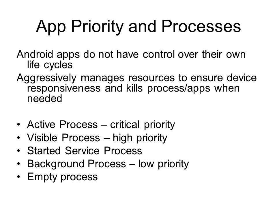 App Priority and Processes