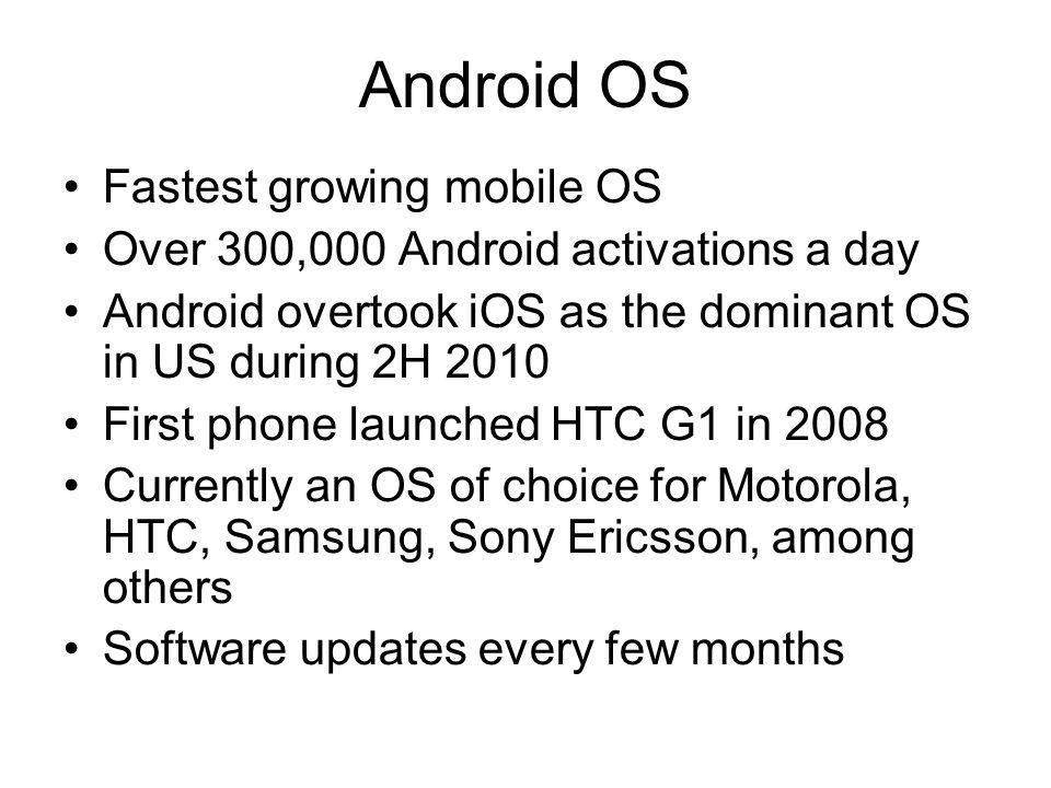 Android OS Fastest growing mobile OS