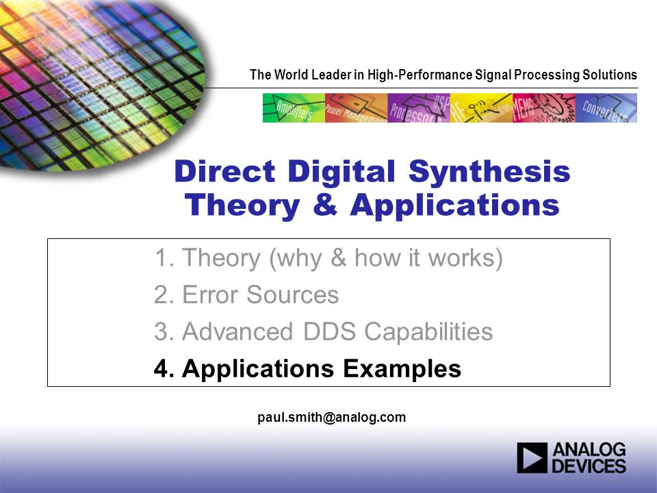 Direct Digital Synthesis Theory & Applications