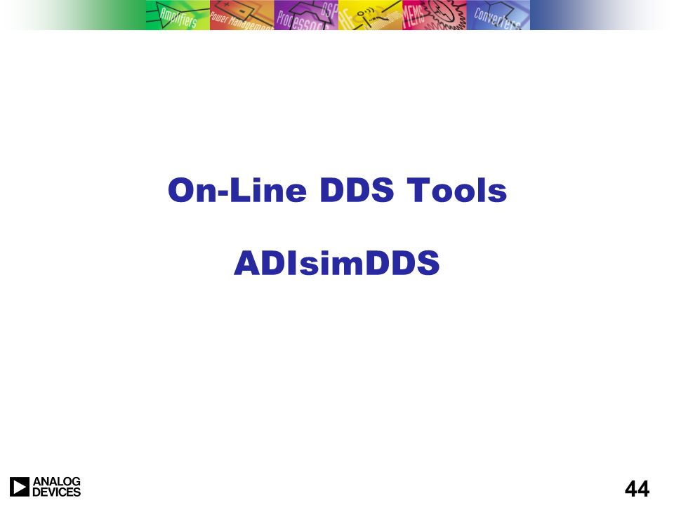 On-Line DDS Tools ADIsimDDS