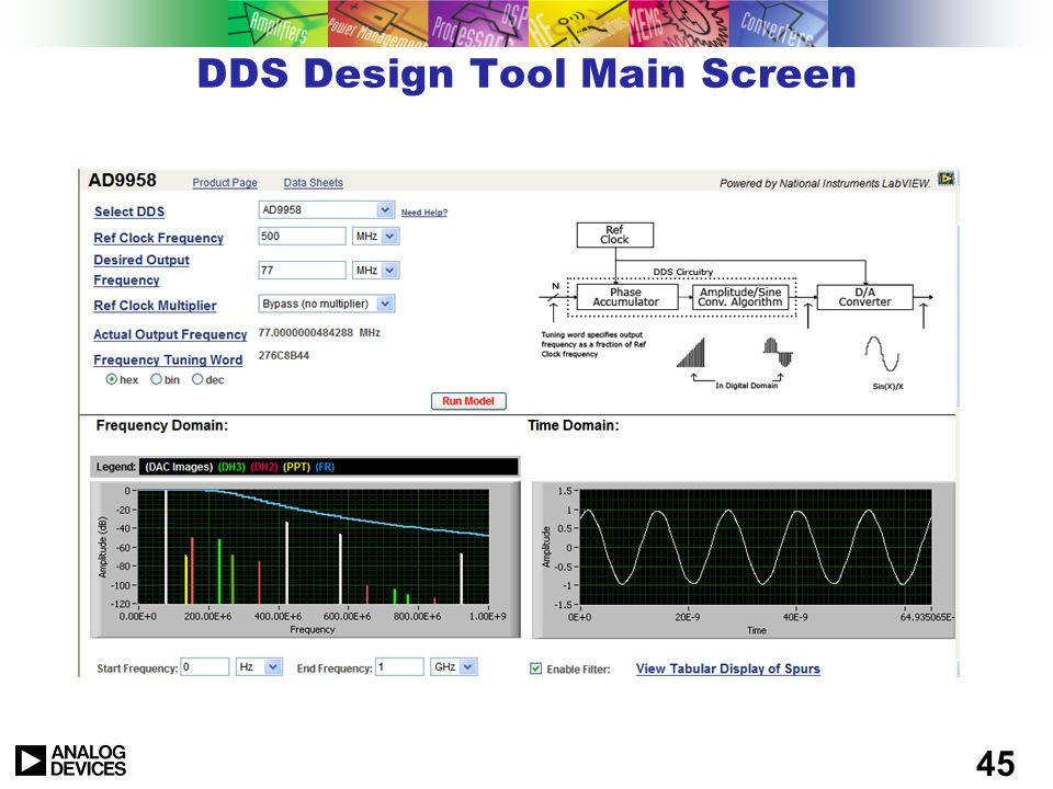 DDS Design Tool Main Screen