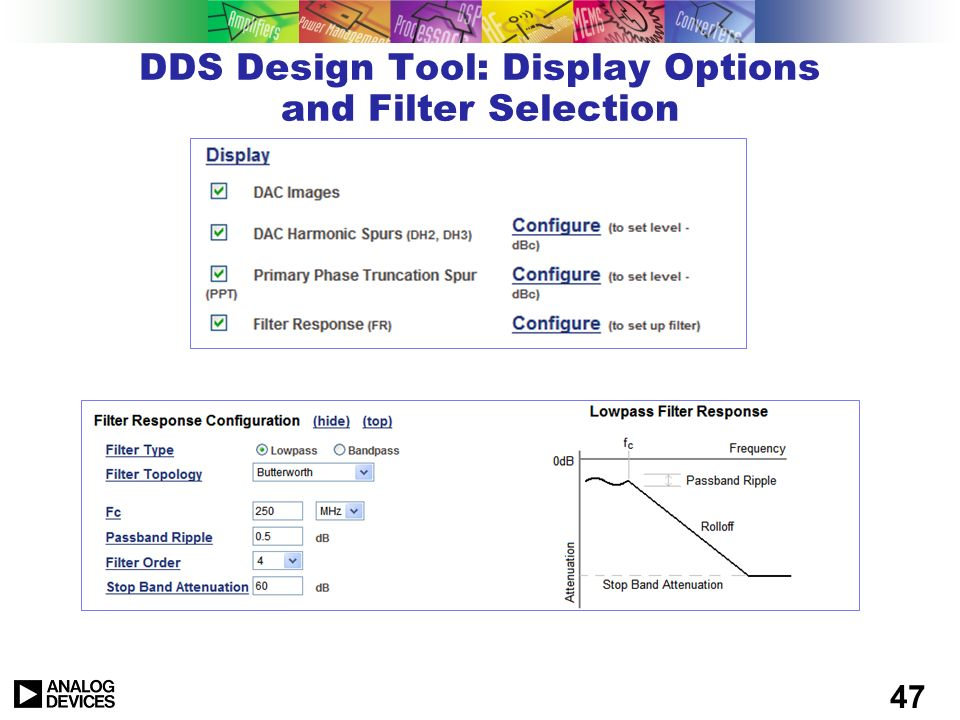 DDS Design Tool: Display Options and Filter Selection