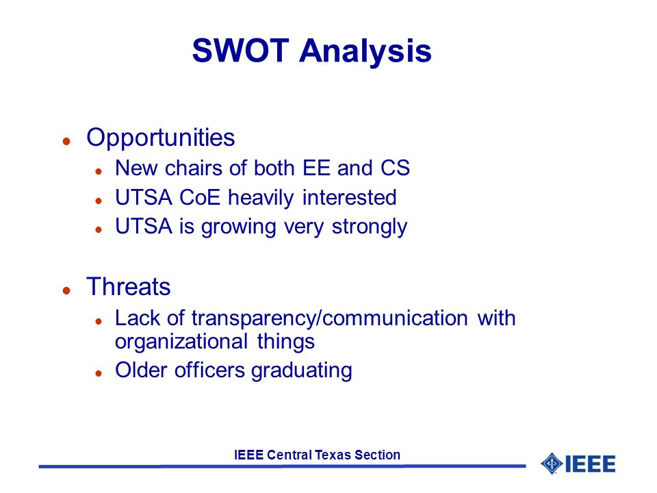 SWOT Analysis Strengths Weaknesses Newly involved officers