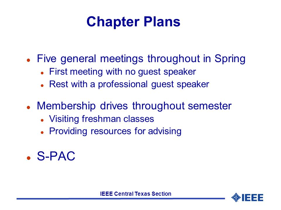 Fall Events 3 General Meetings Communications Society Guest Speaker