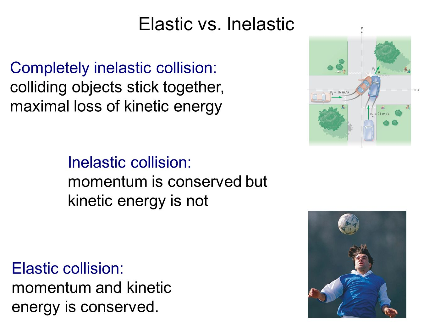 an observation of the conservation or loss of momentum and kinetic energy A momentum-based analysis is the way to go for the motorcycle-rope-truck scenario in your kinetic energy argument, you are assuming that kinetic energies add like vectors.