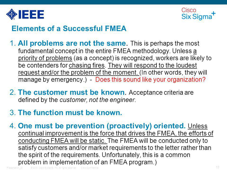 Elements of a Successful FMEA