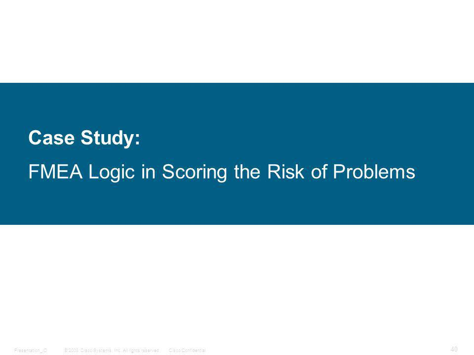 Case Study: FMEA Logic in Scoring the Risk of Problems