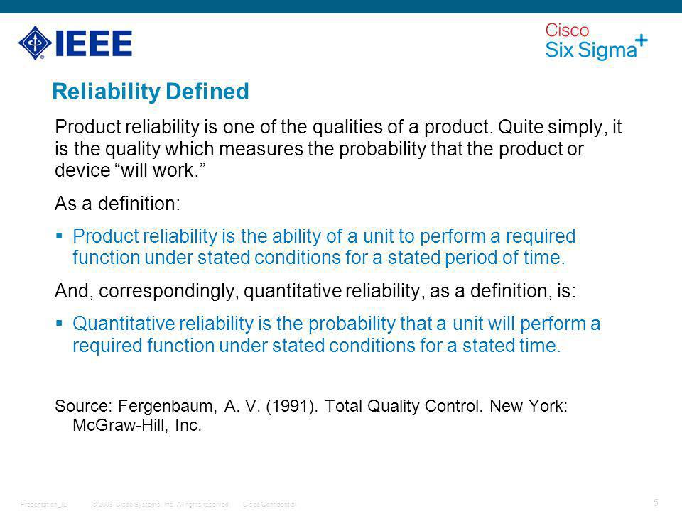 Reliability Defined