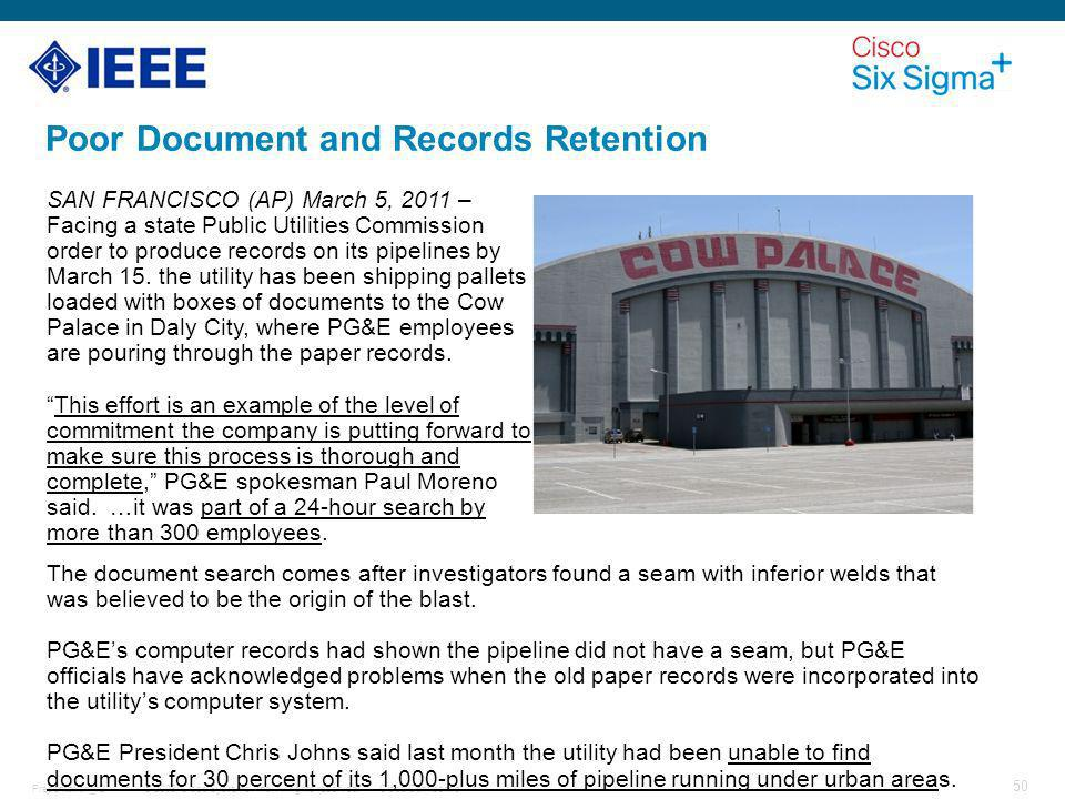 Poor Document and Records Retention