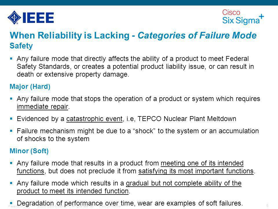 When Reliability is Lacking - Categories of Failure Mode