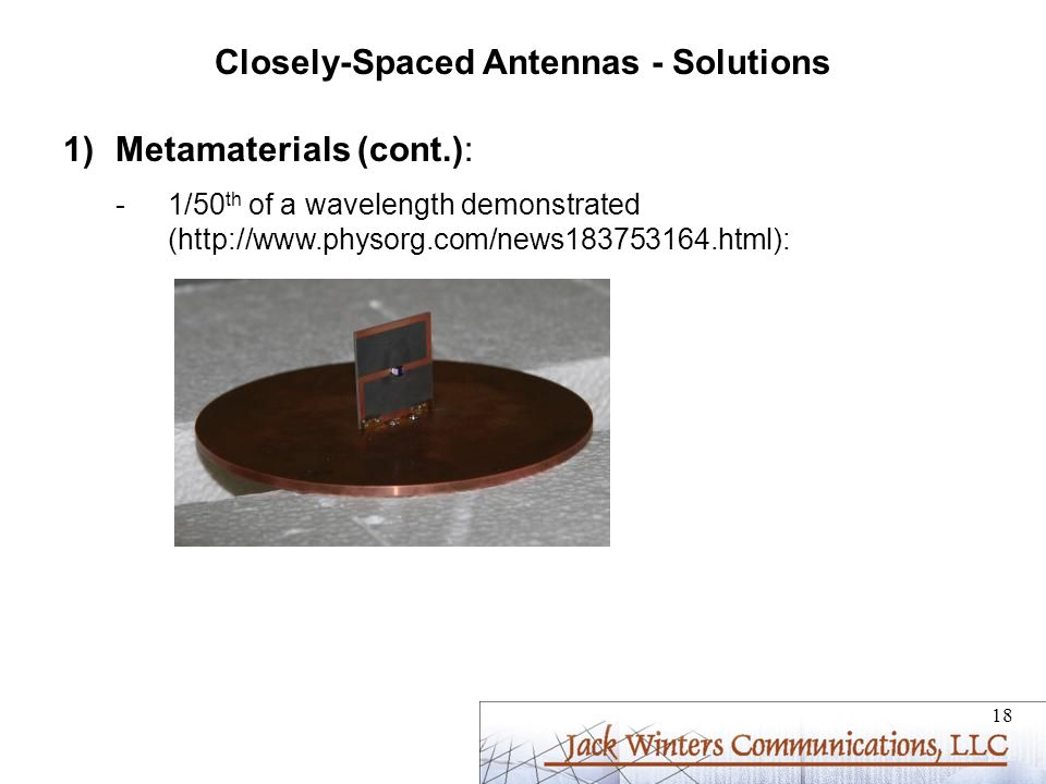 Closely-Spaced Antennas - Solutions