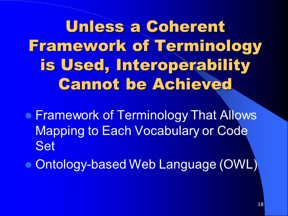 Unless a Coherent Framework of Terminology is Used, Interoperability Cannot be Achieved