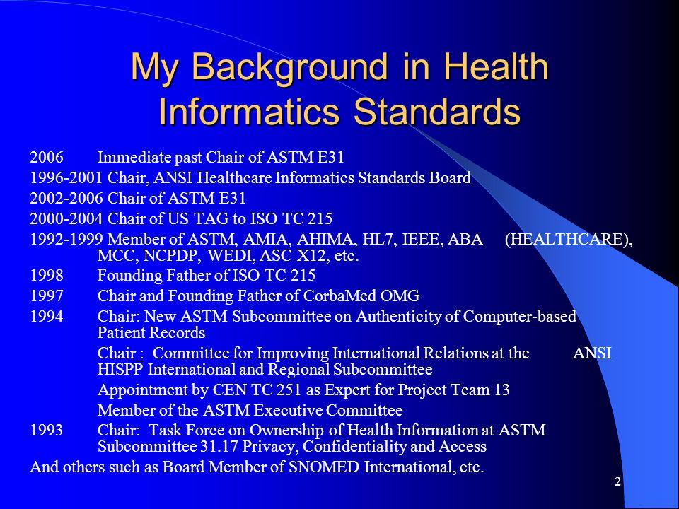 My Background in Health Informatics Standards