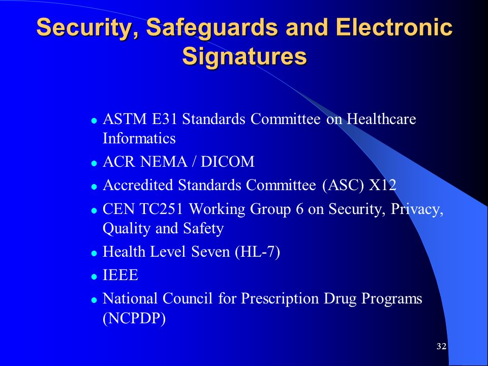 Security, Safeguards and Electronic Signatures