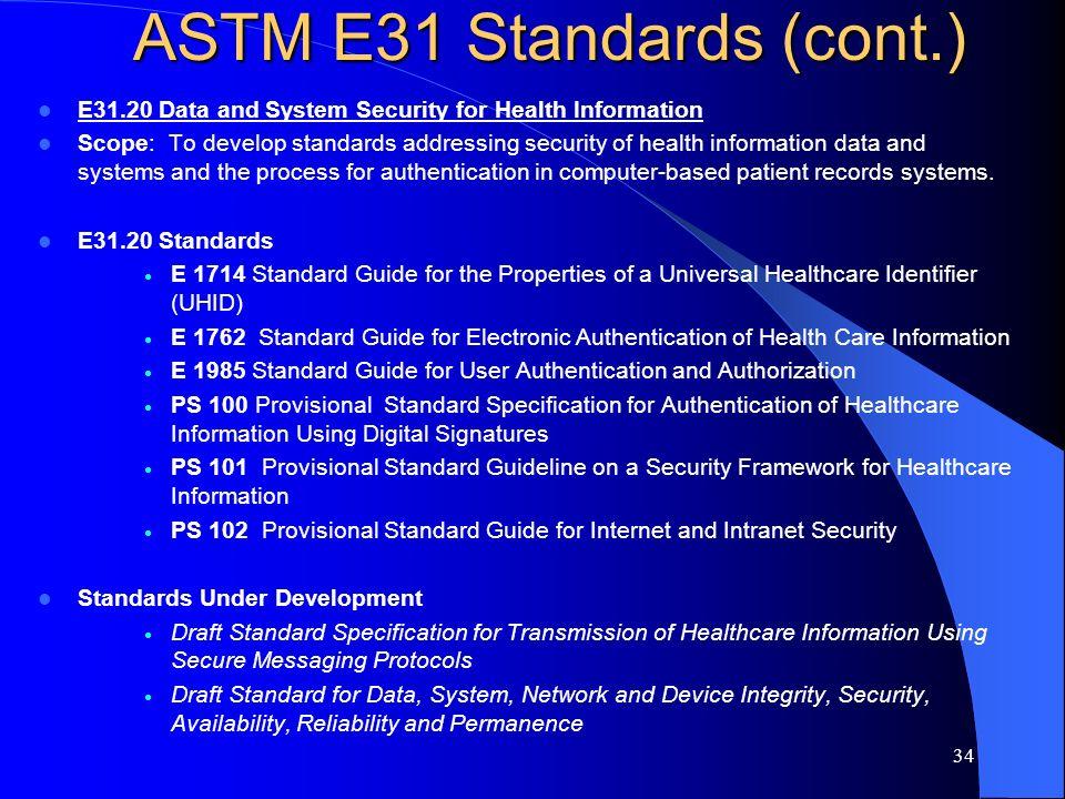 ASTM E31 Standards (cont.)