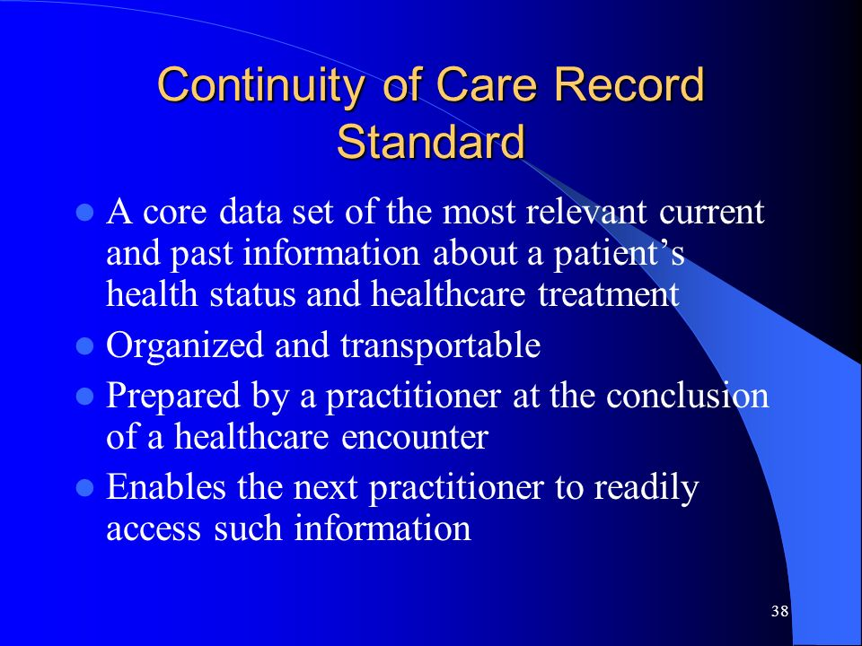 Continuity of Care Record Standard