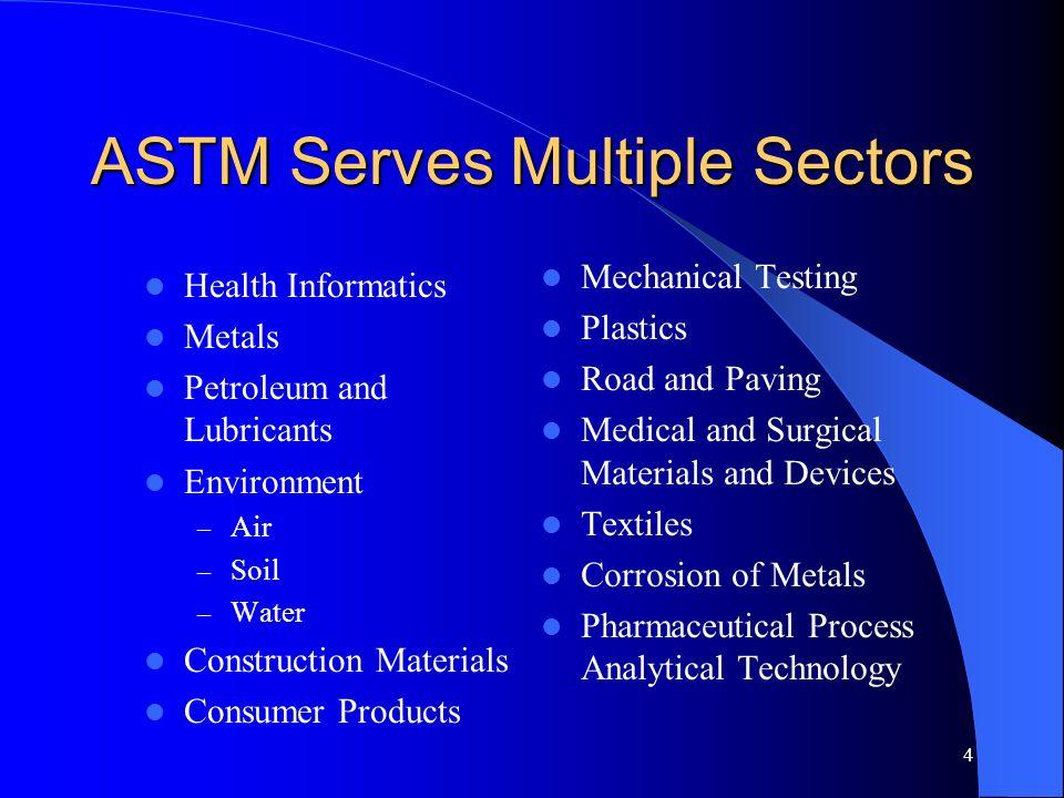 ASTM Serves Multiple Sectors