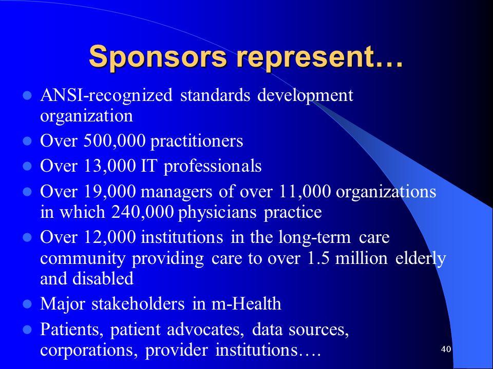 Sponsors represent… ANSI-recognized standards development organization