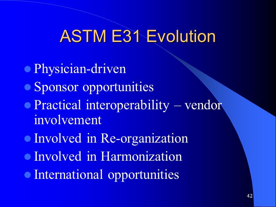 ASTM E31 Evolution Physician-driven Sponsor opportunities