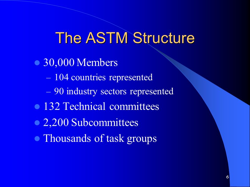 The ASTM Structure 30,000 Members 132 Technical committees