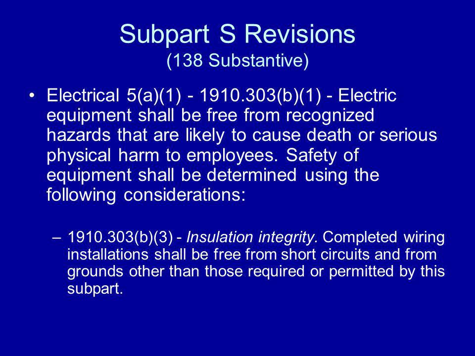 Subpart S Revisions (138 Substantive)