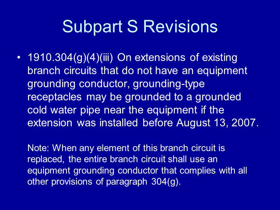 Subpart S Revisions