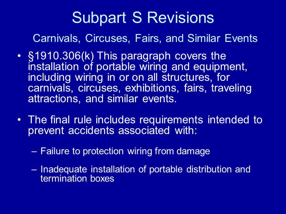 Subpart S Revisions Carnivals, Circuses, Fairs, and Similar Events