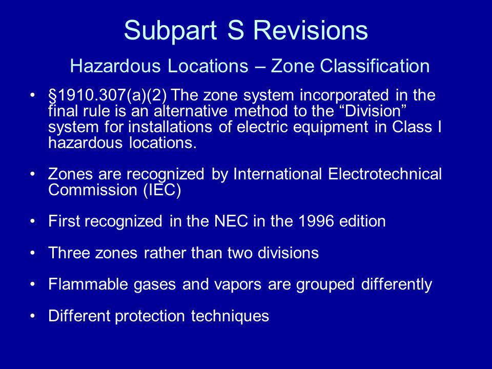 Subpart S Revisions Hazardous Locations – Zone Classification