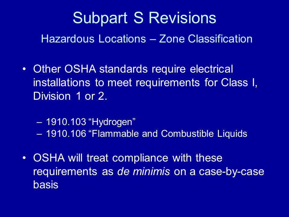 Subpart S Revisions Hazardous Locations – Zone Classification