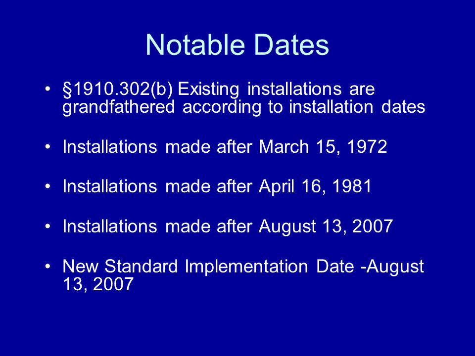 Notable Dates §1910.302(b) Existing installations are grandfathered according to installation dates.