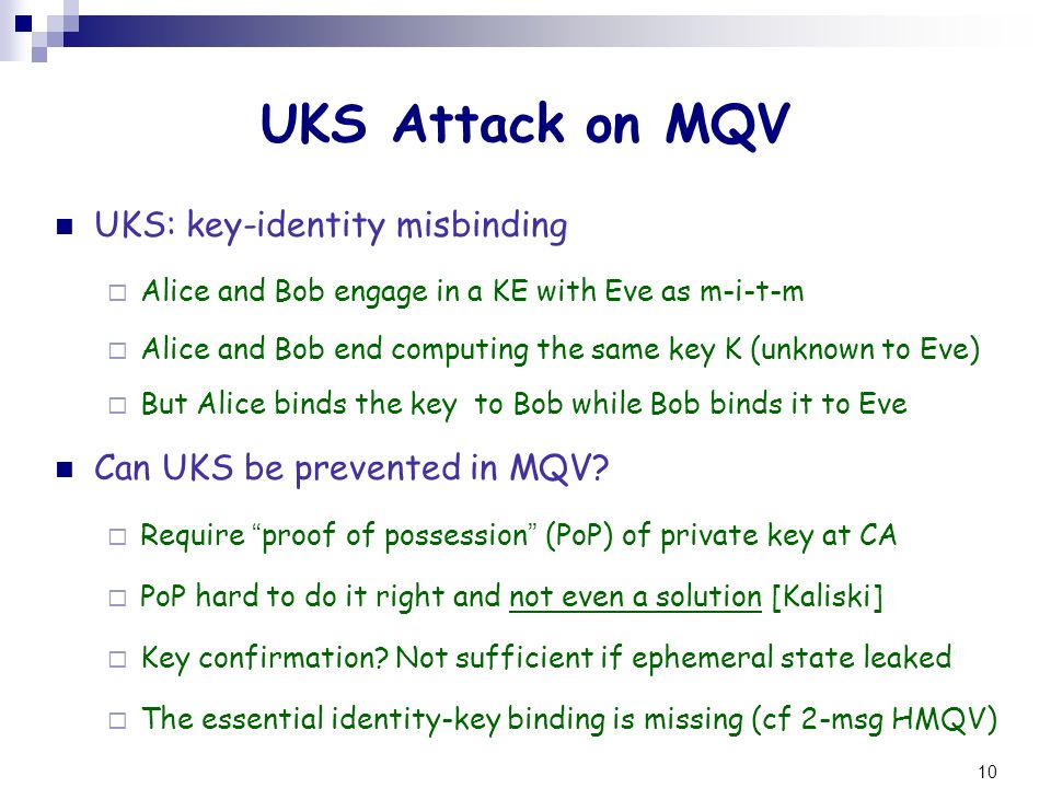 UKS Attack on MQV UKS: key-identity misbinding