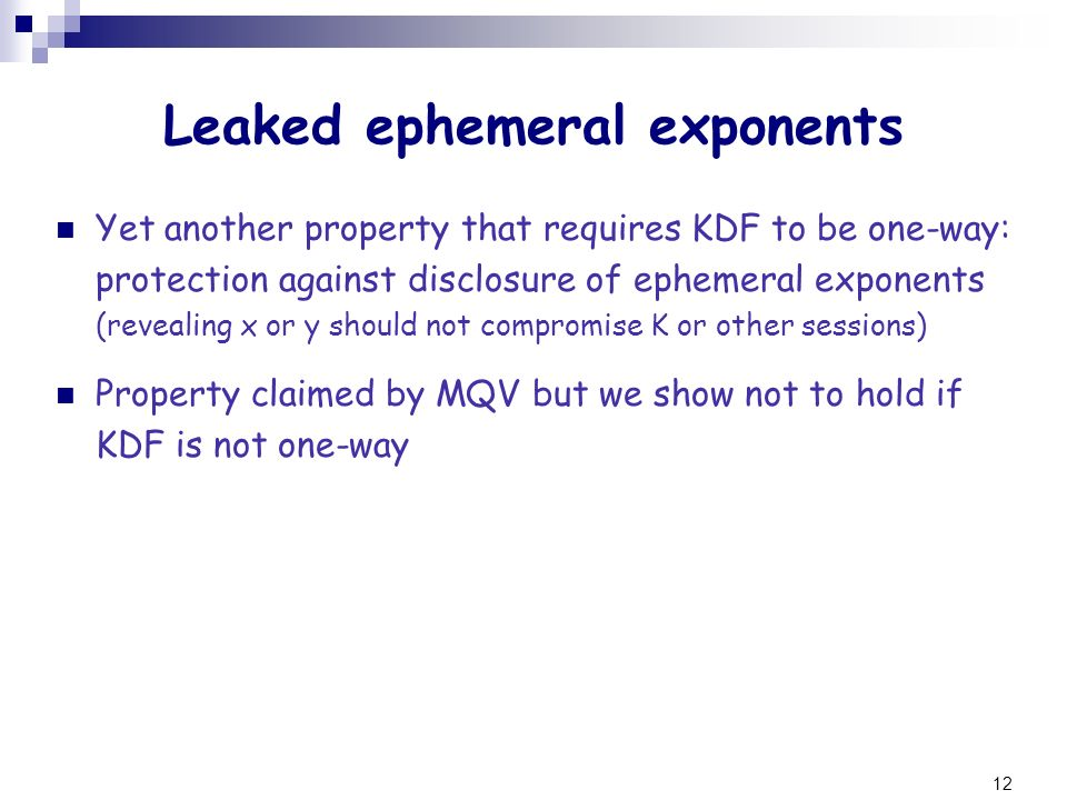 Leaked ephemeral exponents