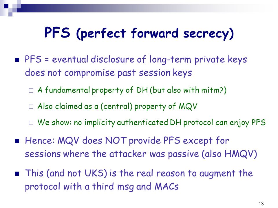 PFS (perfect forward secrecy)
