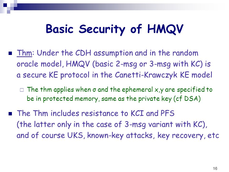 Basic Security of HMQV