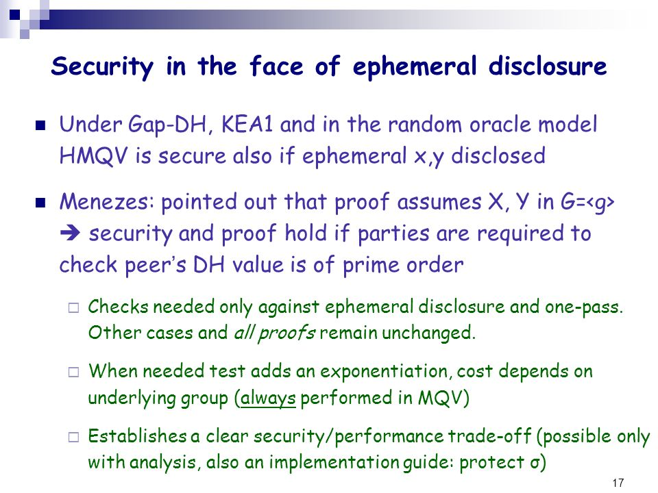 Security in the face of ephemeral disclosure