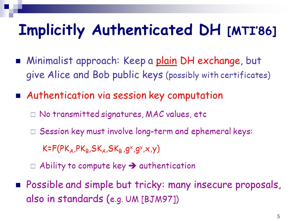 Implicitly Authenticated DH [MTI'86]
