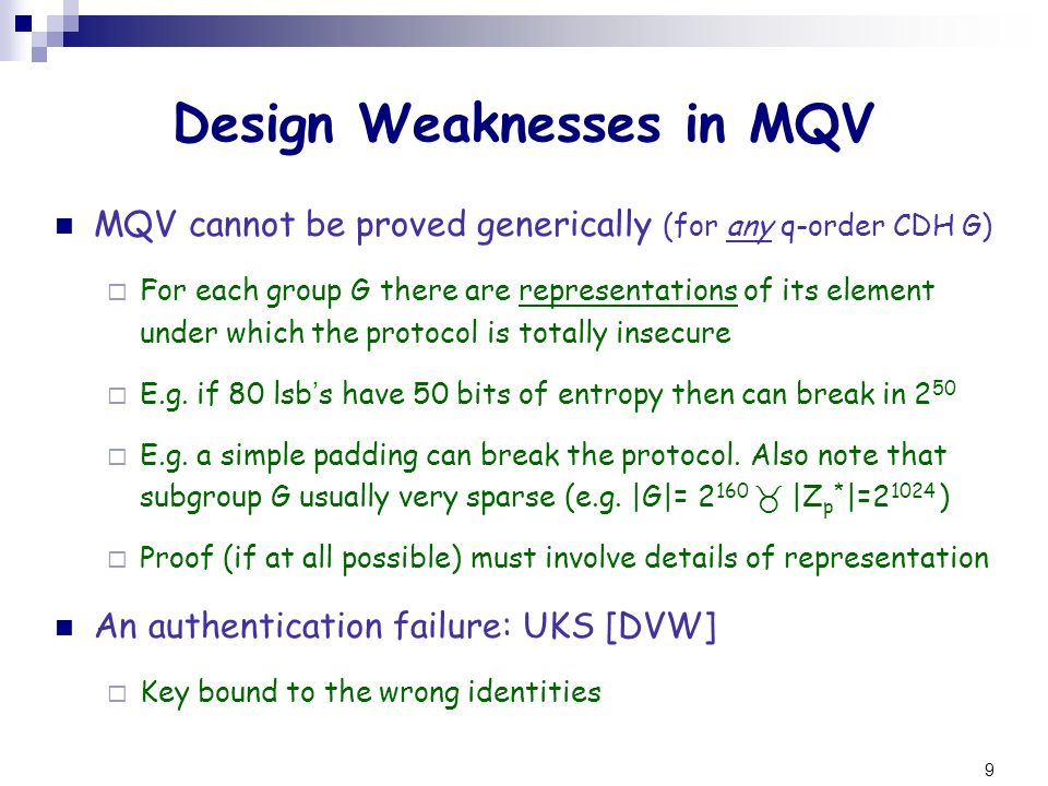 Design Weaknesses in MQV