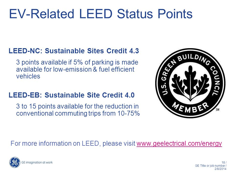 EV-Related LEED Status Points