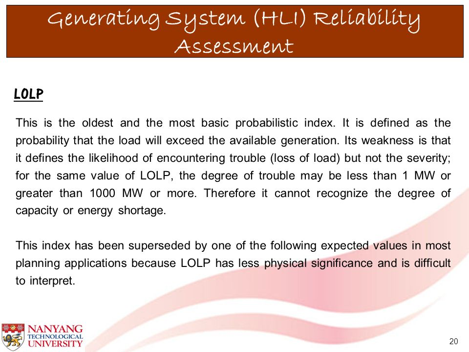 Generating System (HLI) Reliability Assessment