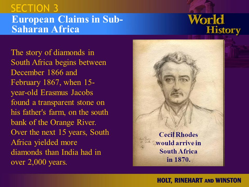 Cecil Rhodes would arrive in South Africa in 1870.