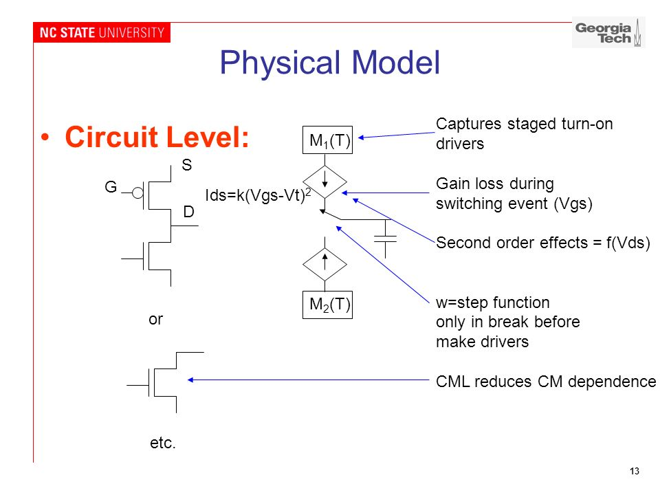 Physical Model Circuit Level: Captures staged turn-on drivers M1(T)