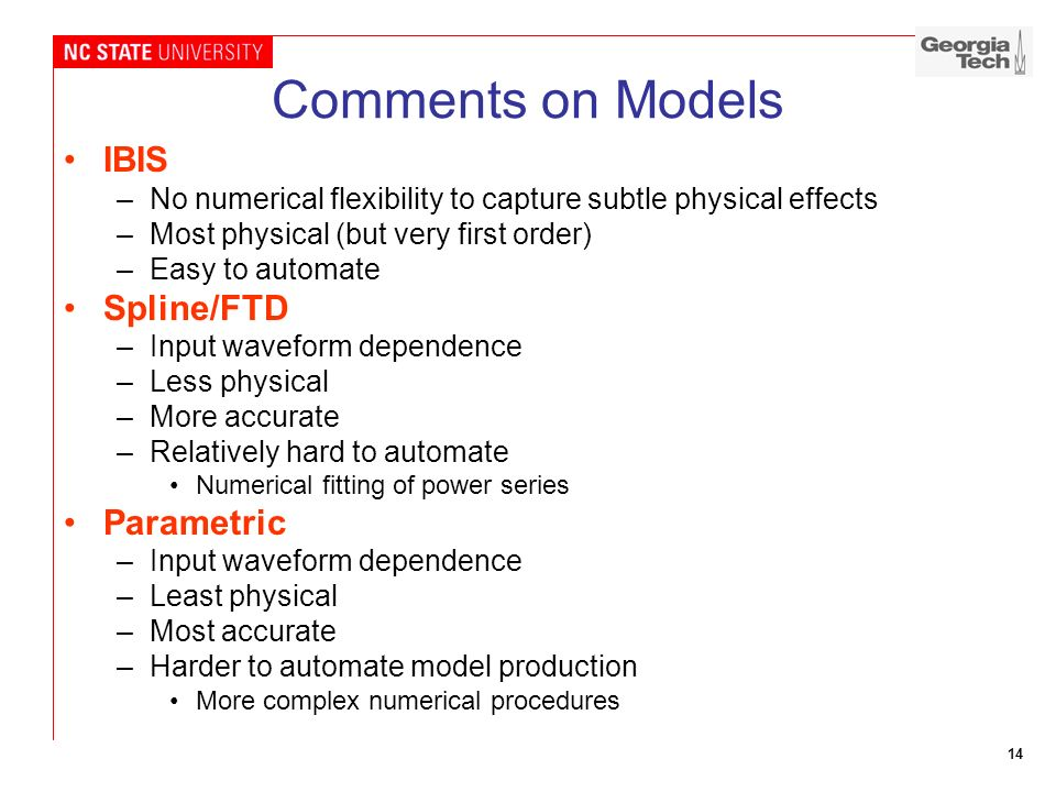 Comments on Models IBIS Spline/FTD Parametric
